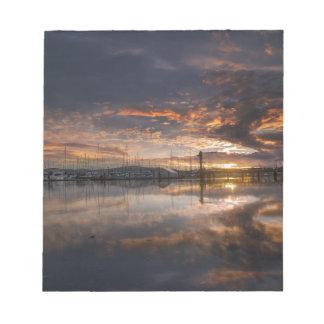 Sunset at Marina in Anacortes in Washington USA Notepad