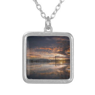 Sunset at Marina in Anacortes in Washington USA Silver Plated Necklace