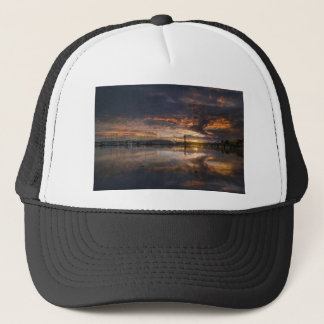 Sunset at Marina in Anacortes in Washington USA Trucker Hat