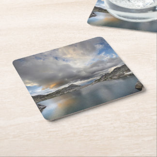 Sunset at Middle Nydiver Lake - Sierra Square Paper Coaster