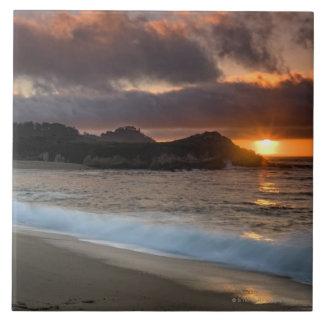 Sunset at Monastery Beach, Carmel, California, Ceramic Tile