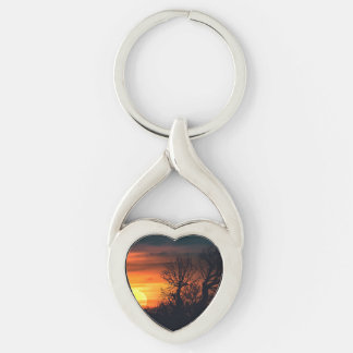 Sunset at Nature Landscape Keychain