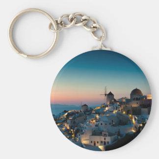 Sunset at Oia Basic Round Button Keychain