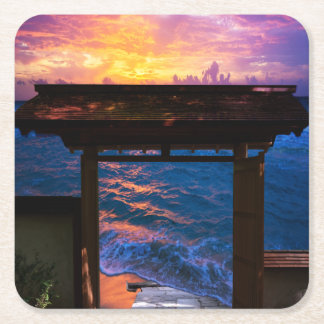 Sunset at Paradise Bay Square Paper Coaster
