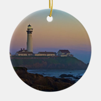 Sunset at Pigeon Point Lighthouse California Ceramic Ornament