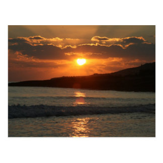 Sunset at Praia Da Luz Beach, Algarve, Portugal Postcard