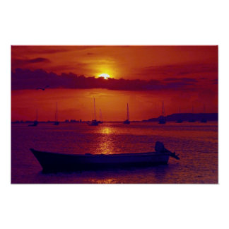 Sunset at Puerto la Cruz, Venezuela Poster