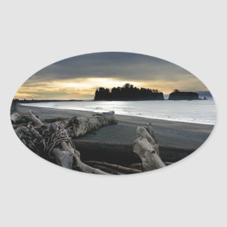 Sunset at Ruby Beach Olympic National Park Oval Sticker