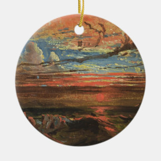 Sunset at Sea after a Storm (oil on pressed cardbo Ceramic Ornament