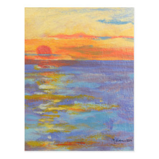 Sunset at Sea Post Cards, Ocean Sundown, Fine Art Postcard