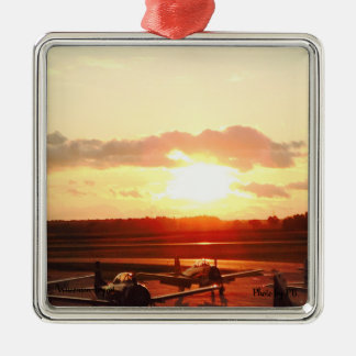 Sunset at the airport in Wisconsin Metal Ornament