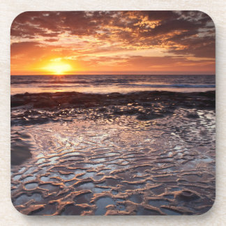 Sunset at the beach, California Drink Coaster