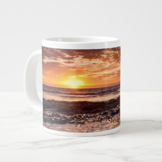 Sunset at the beach, California Large Coffee Mug