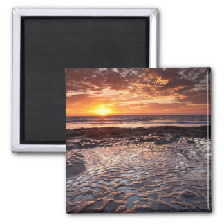 Sunset at the beach, California Square Magnet