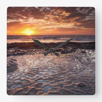 Sunset at the beach, California Square Wall Clock
