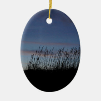 Sunset at the Beach Ceramic Oval Ornament
