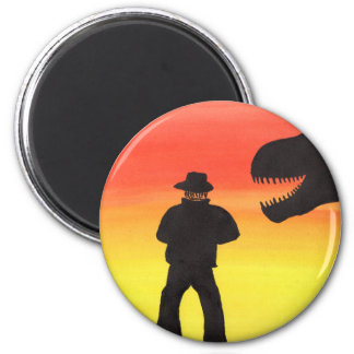 Sunset At The Dinosaur Ranch 2 Inch Round Magnet