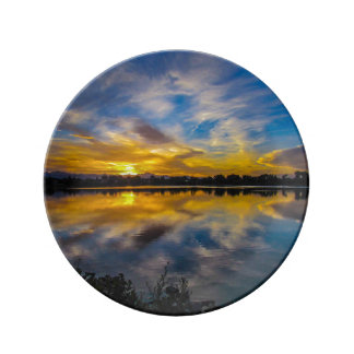 Sunset At The Lake Plate Porcelain Plates