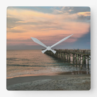 Sunset at the Pier. Square Wall Clock