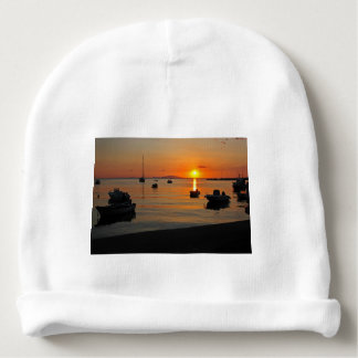 Sunset at the port of Novalja n iKroatien Baby Beanie