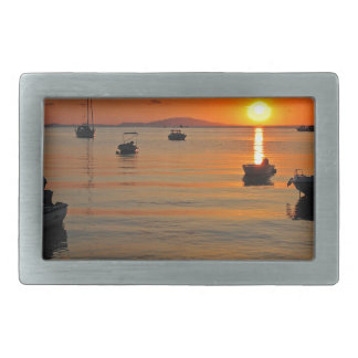 Sunset at the port of Novalja n iKroatien Belt Buckles