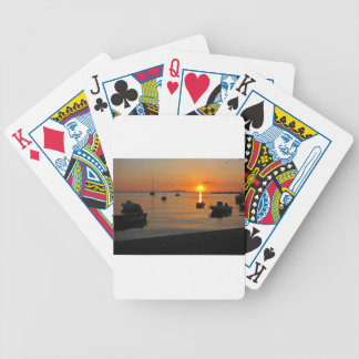 Sunset at the port of Novalja n iKroatien Bicycle Playing Cards