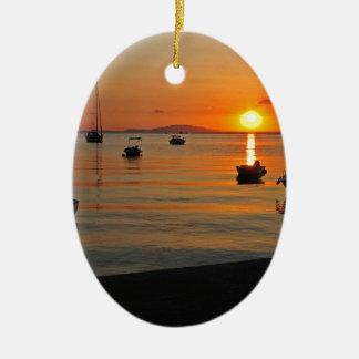 Sunset at the port of Novalja n iKroatien Ceramic Ornament