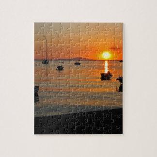 Sunset at the port of Novalja n iKroatien Jigsaw Puzzle