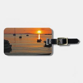 Sunset at the port of Novalja n iKroatien Luggage Tag