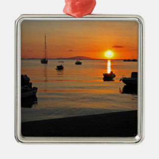 Sunset at the port of Novalja n iKroatien Metal Ornament