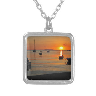 Sunset at the port of Novalja n iKroatien Silver Plated Necklace