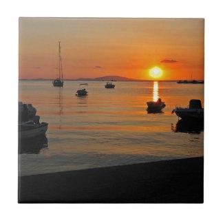 Sunset at the port of Novalja n iKroatien Tiles