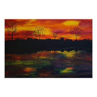 Sunset at the river poster