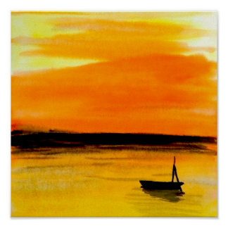 Sunset at the sea orange sky reflection Seascapes Poster