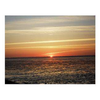 Sunset at the sea Watt of ebb-tide Postcard