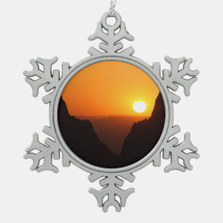 Sunset at the Window Snowflake Pewter Christmas Ornament