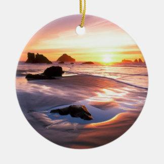 Sunset Bandon Oregon Ceramic Ornament