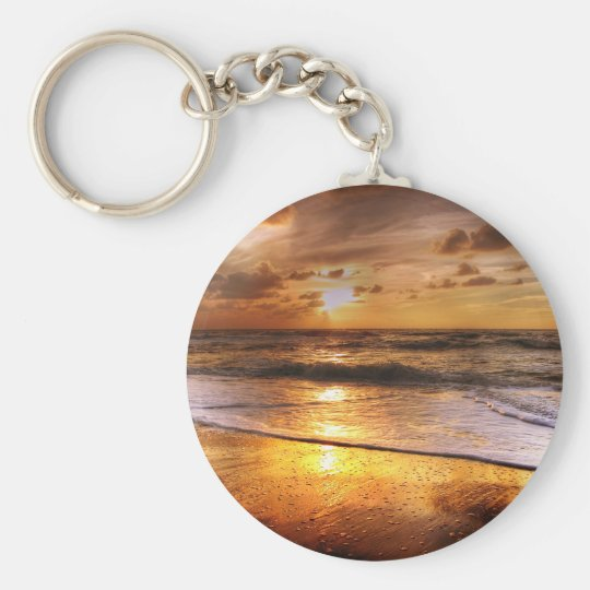 Sunset Basic Round Button Keychain