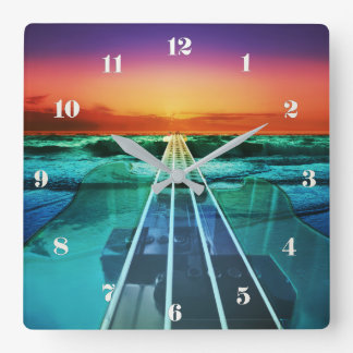 Sunset Beach Bass Guitar Music Wall Clock