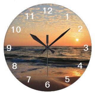Sunset, Beach, & Clouds Large Clock