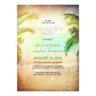 Sunset beach engagement party invitations