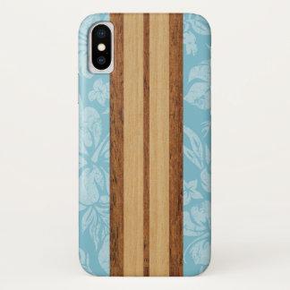 Sunset Beach Faux Wood Surfboard Hawaiian Aqua iPhone X Case