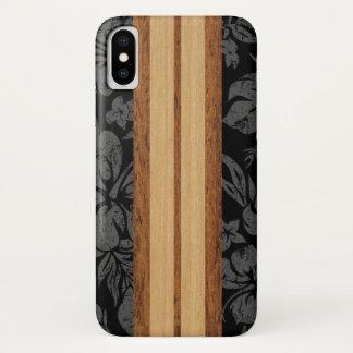 Sunset Beach Faux Wood Surfboard Hawaiian Black iPhone X Case