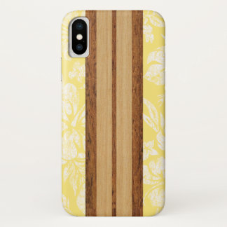 Sunset Beach Faux Wood Surfboard Hawaiian iPhone X Case