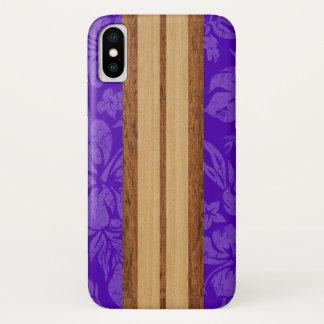 Sunset Beach Faux Wood Surfboard Hawaiian Purple iPhone X Case