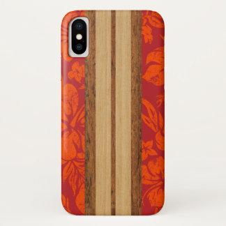 Sunset Beach Faux Wood Surfboard Hawaiian Red iPhone X Case