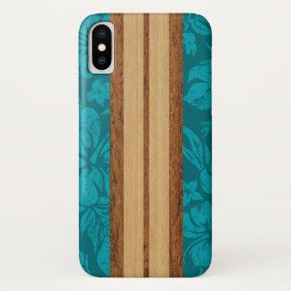 Sunset Beach Faux Wood Surfboard Hawaiian Teal iPhone X Case