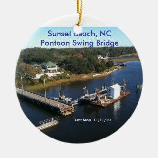 Sunset Beach, NC  Pontoon Swing Bridge... Ceramic Ornament
