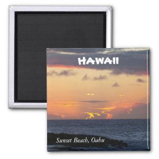 Sunset Beach, Oahu Square Magnet