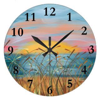 Sunset Beach Painting Round (Large) Wall Clock